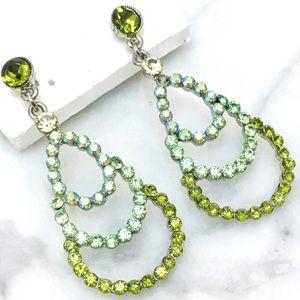 Green Rhinestone w AB Accents Formal Drop Earrings